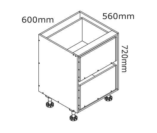 600mm 2 Drawer Base Cabinet Kaboodle Kitchen