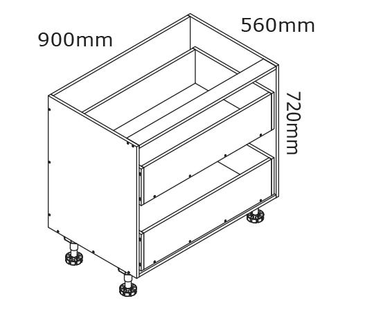 900mm 2 Drawer Base Cabinet   kaboodle kitchen