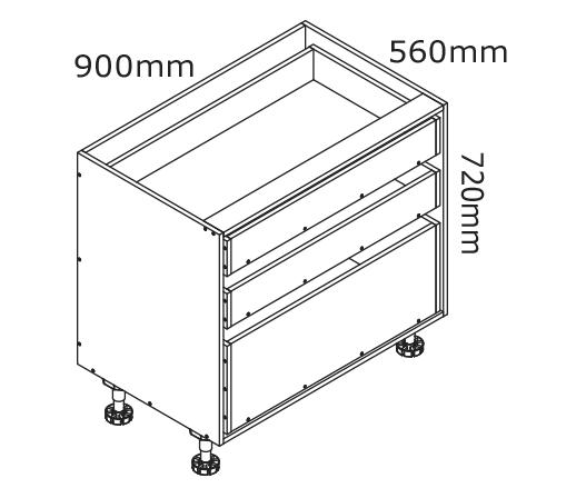 900mm 3 Drawer Base Cabinet | kaboodle kitchen